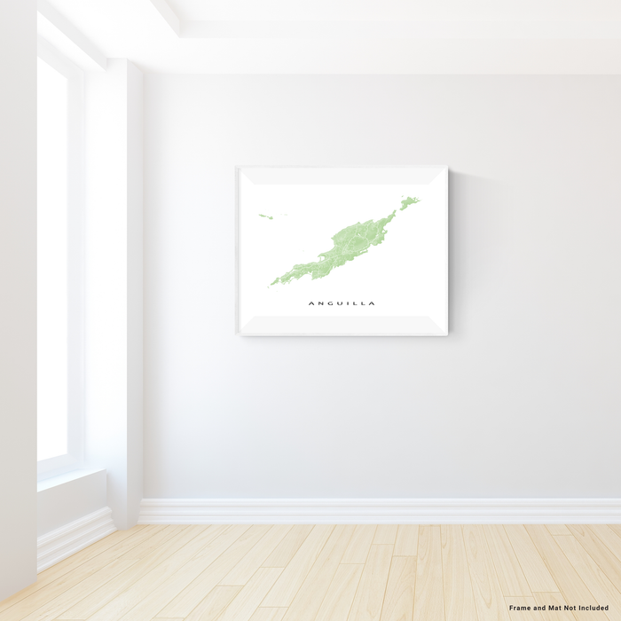 Anguilla map print with natural landscape and main roads in Sage from Maps As Art.
