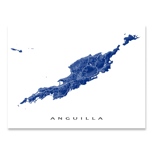 Anguilla map print with natural landscape and main roads in Navy from Maps As Art.