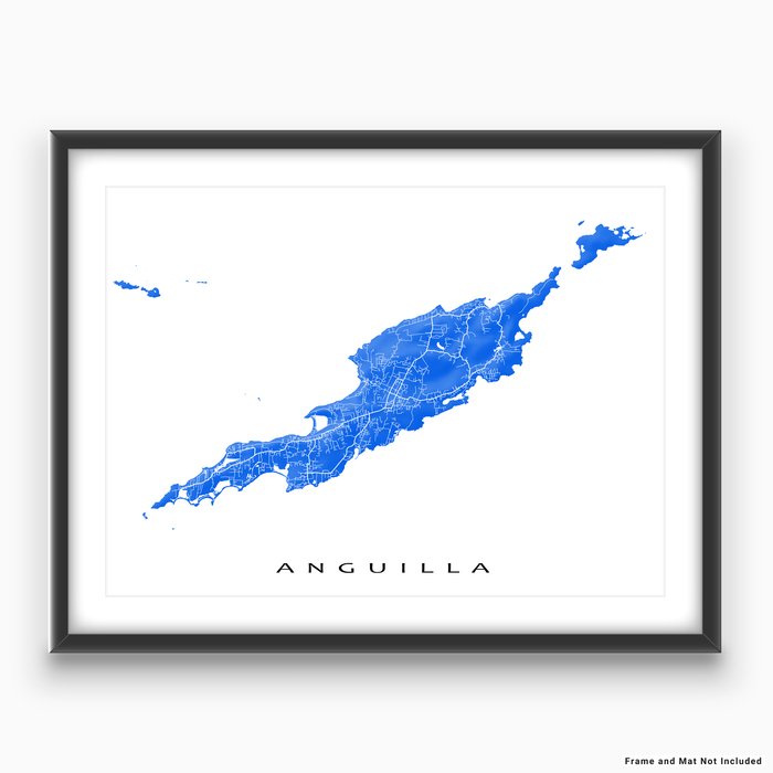Anguilla map print with natural landscape and main roads in Blue from Maps As Art.