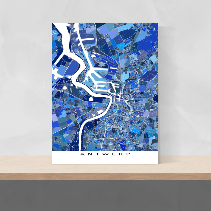 Antwerp, Belgium map art print in blue shapes designed by Maps As Art.