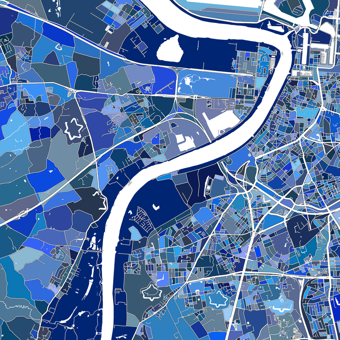Antwerp, Belgium map art print close-up in blue shapes designed by Maps As Art.