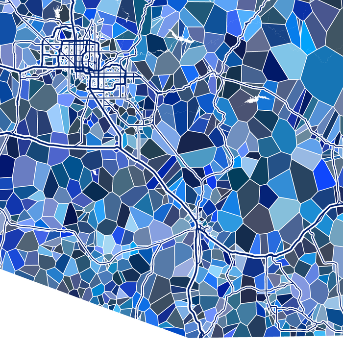 Arizona state map art print close-up in blue shapes designed by Maps As Art.
