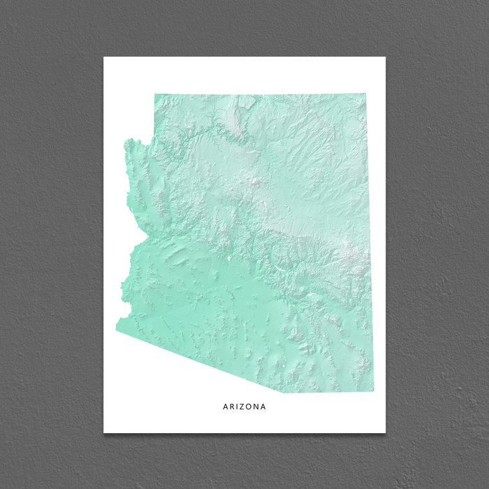 Arizona Map Print, Aqua Landscape