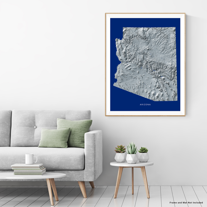 Arizona state map with natural landscape in greyscale and navy blue designed by Maps As Art.