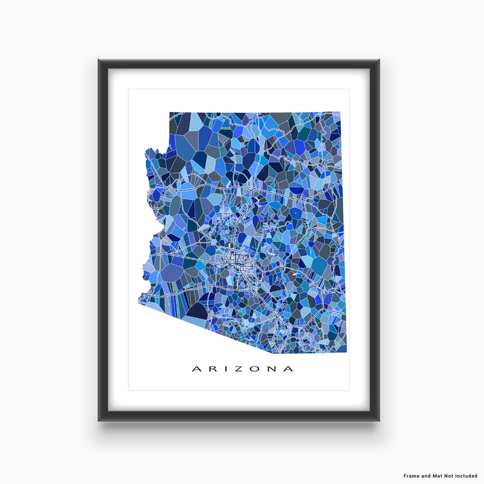 Arizona state map art print in blue shapes designed by Maps As Art.