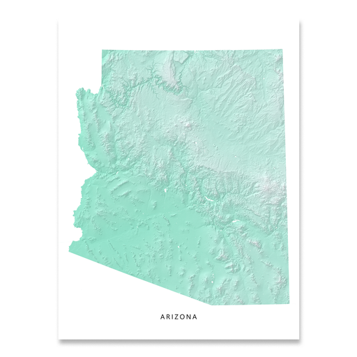 Arizona state map with natural landscape in aqua tints designed by Maps As Art.