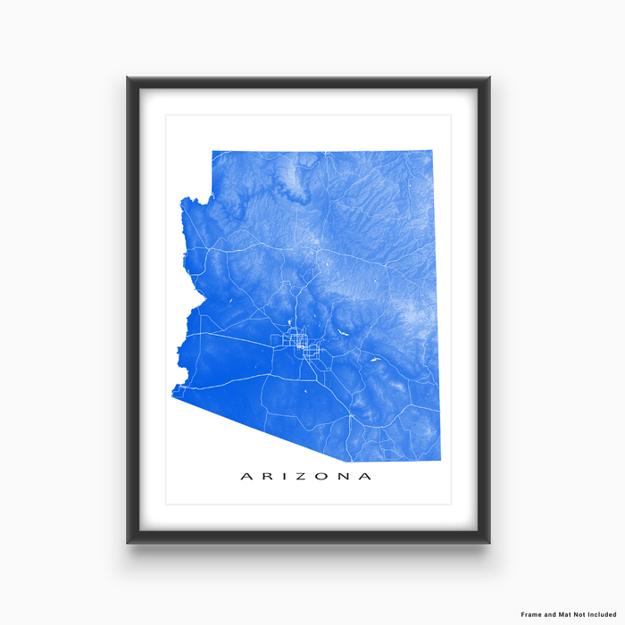 Arizona map print with natural landscape and main roads in Blue designed by Maps As Art.
