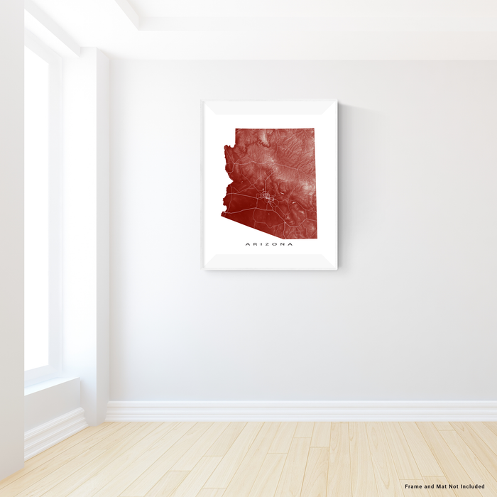 Arizona map print with natural landscape and main roads in Merlot designed by Maps As Art.