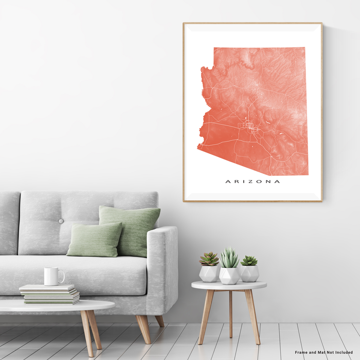 Arizona map print with natural landscape and main roads in Terracotta designed by Maps As Art.