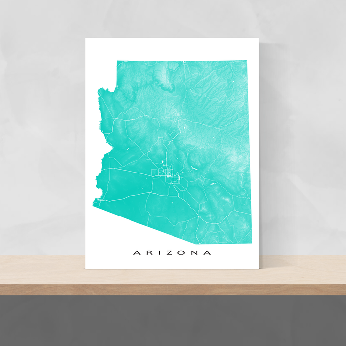 Arizona map print with natural landscape and main roads in Turquoise designed by Maps As Art.