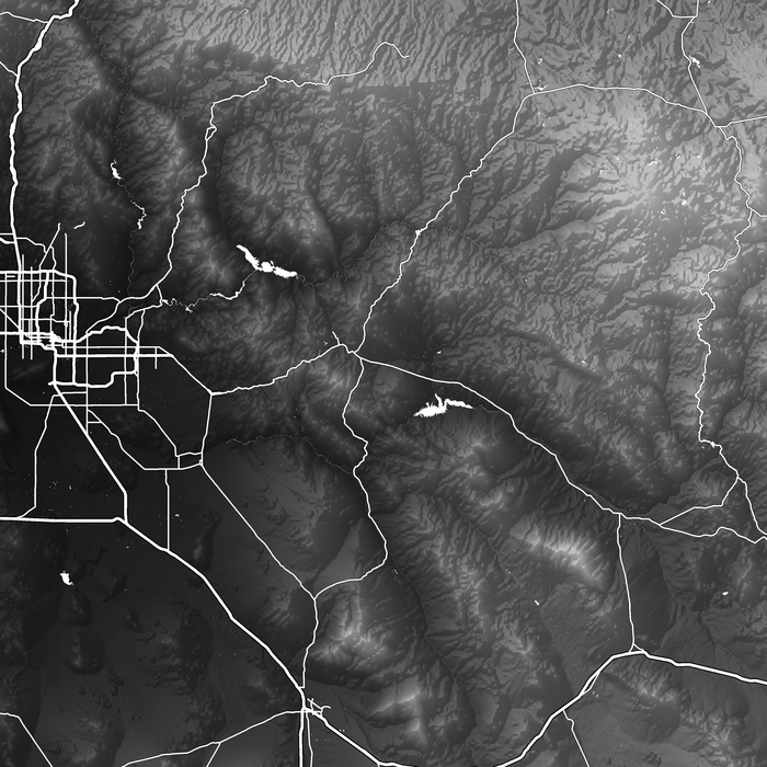 Arizona map print close-up with natural landscape and main roads designed by Maps As Art.
