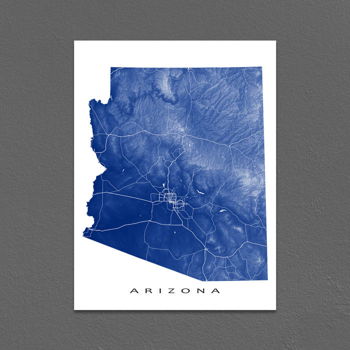 Arizona map print with natural landscape and main roads in Navy designed by Maps As Art.