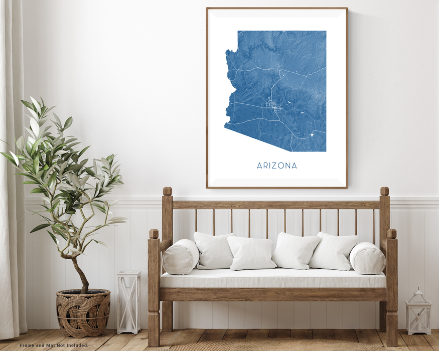Arizona state map print with wooden bench home decor by Maps As Art.