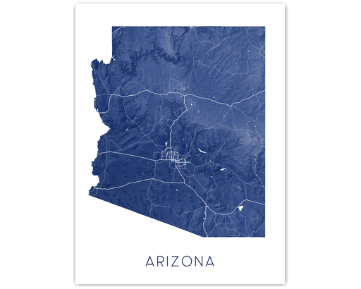 Arizona state map print in Midnight by Maps As Art.