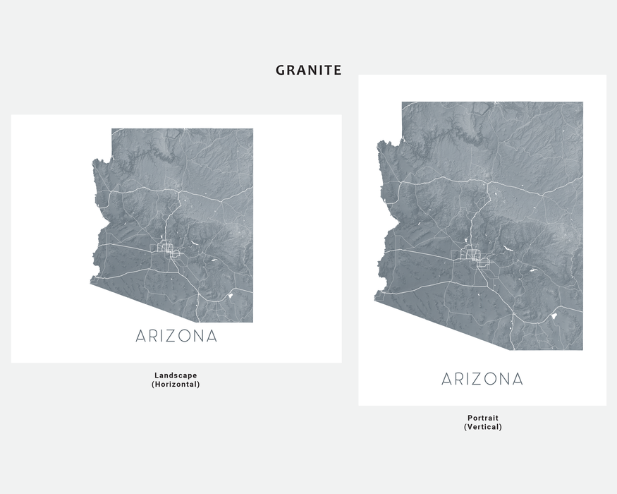 Arizona state map print in Granite by Maps As Art.