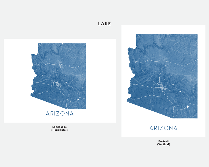 Arizona state map print in Lake by Maps As Art.