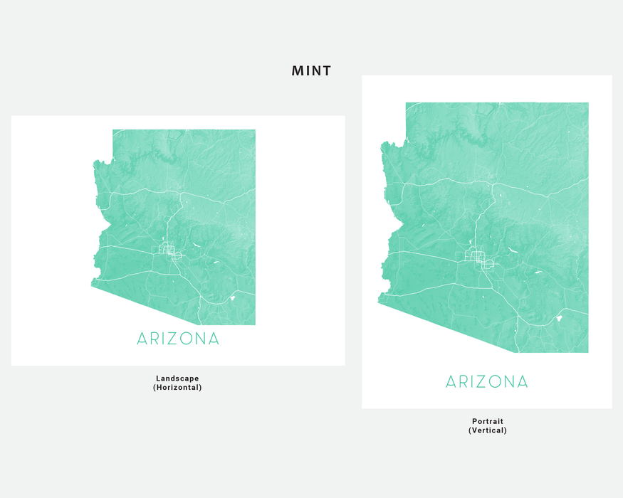 Arizona state map print in Mint by Maps As Art.