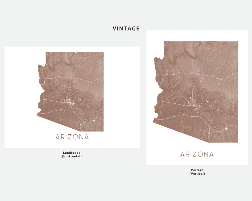 Arizona state map print in Vintage by Maps As Art.
