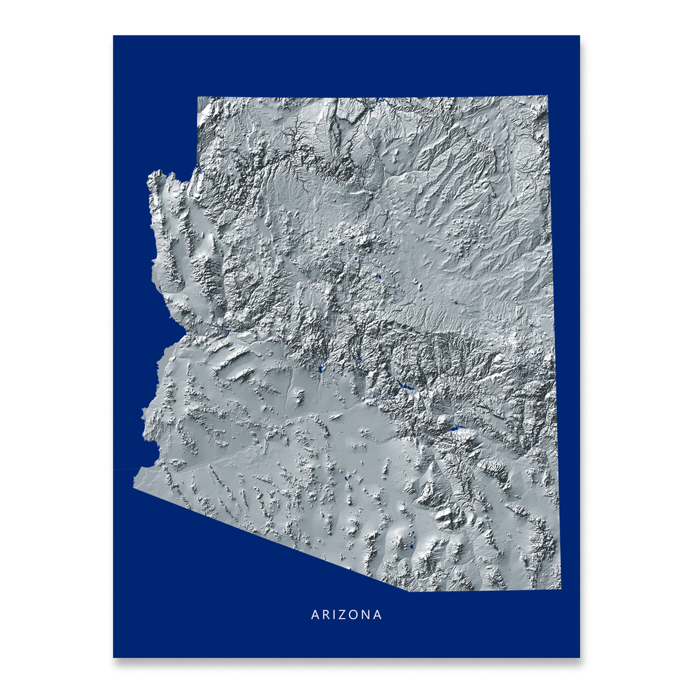 Arizona Map Print, Navy Landscape