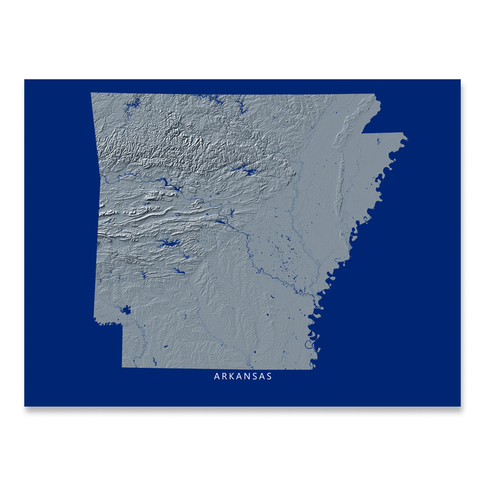 Arkansas Map Print, Navy Landscape