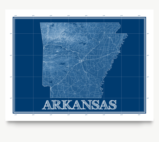 Arkansas state blueprint map art print designed by Maps As Art.