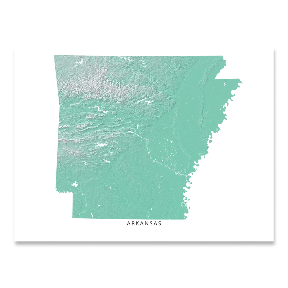Arkansas state map with natural landscape in aqua tints designed by Maps As Art.