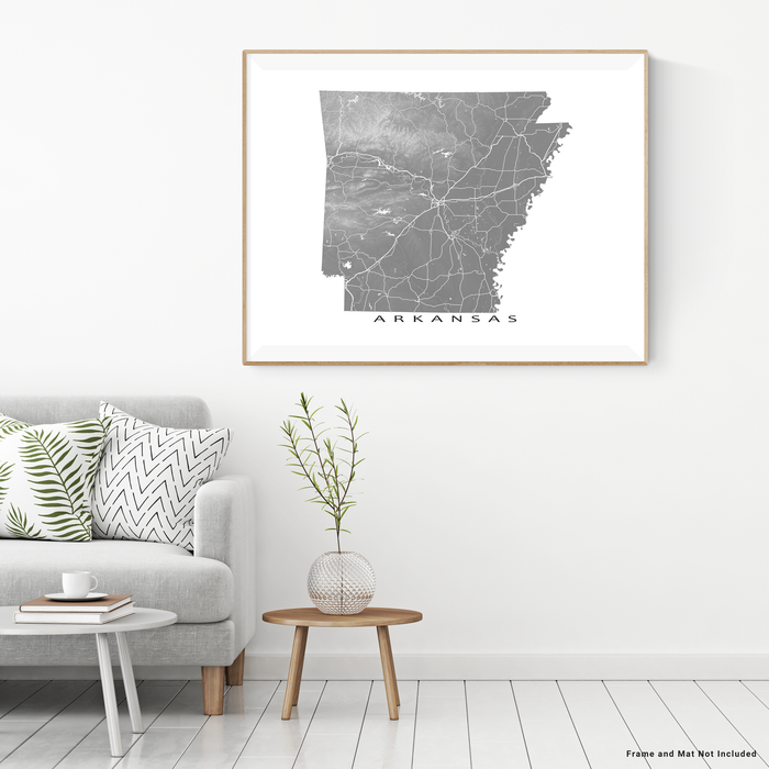 Arkansas map print with natural landscape and main roads in Grey designed by Maps As Art.