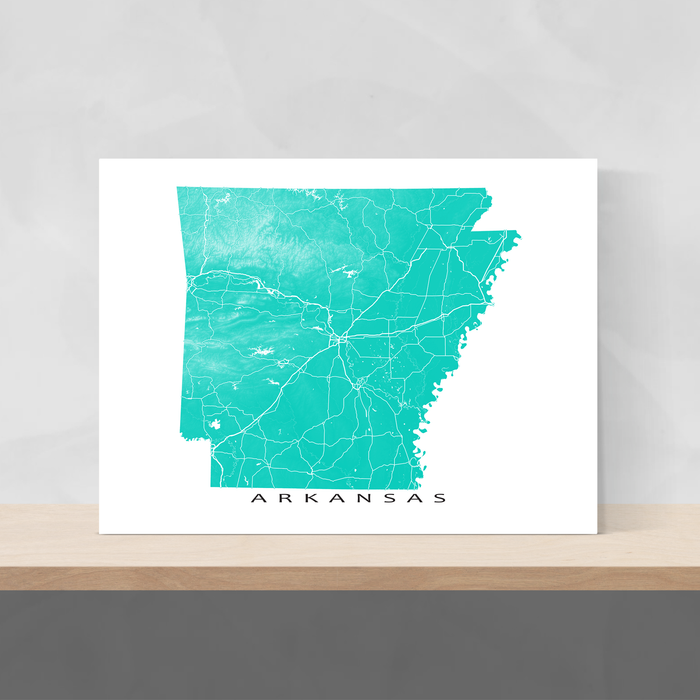 Arkansas map print with natural landscape and main roads in Turquoise designed by Maps As Art.