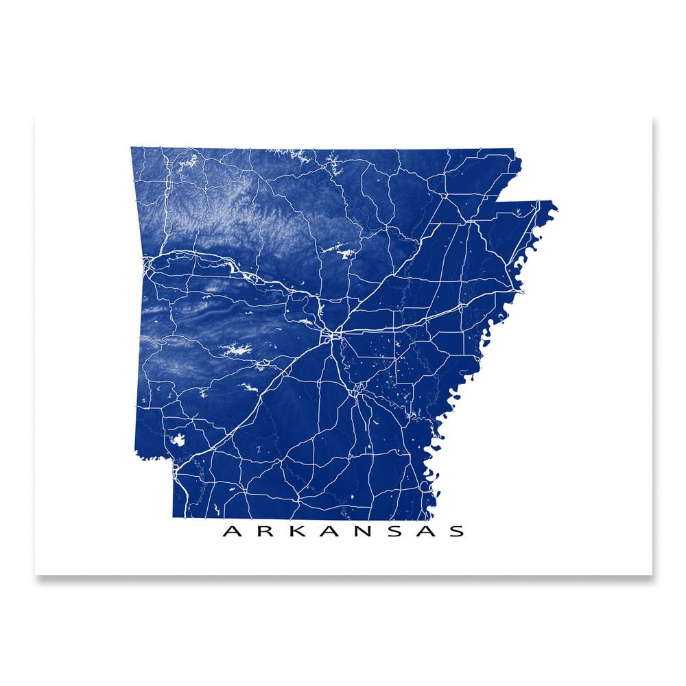 Arkansas map print with natural landscape and main roads in Navy designed by Maps As Art.