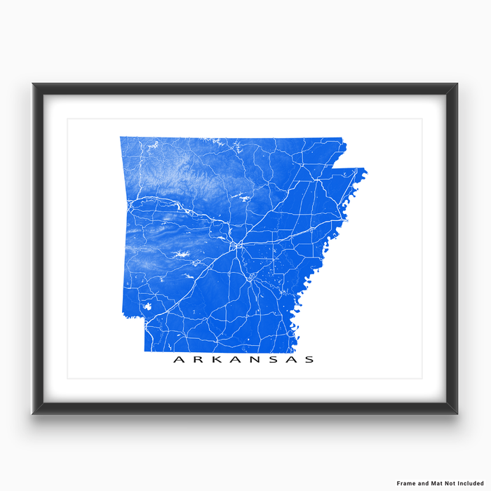 Arkansas map print with natural landscape and main roads in Blue designed by Maps As Art.
