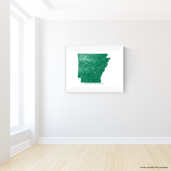 Arkansas map print with natural landscape and main roads in Green designed by Maps As Art.