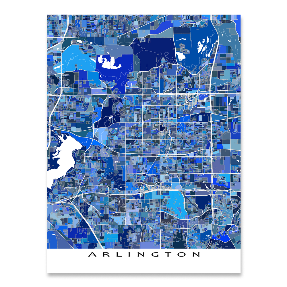 Arlington, Texas map art print in blue shapes designed by Maps As Art.