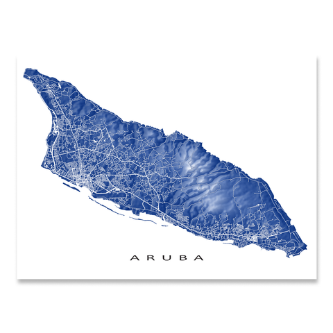Aruba Map Print, Colors