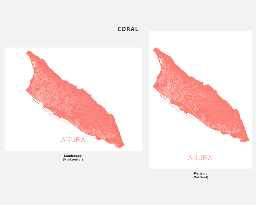 Aruba map print in Coral by Maps As Art.
