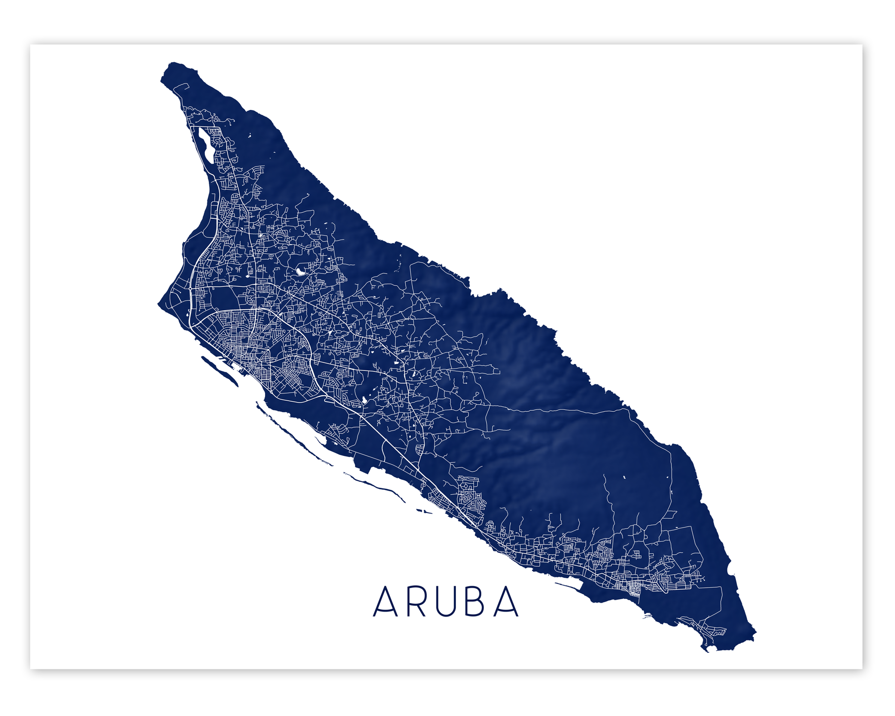 Aruba map print in Midnight by Maps As Art.
