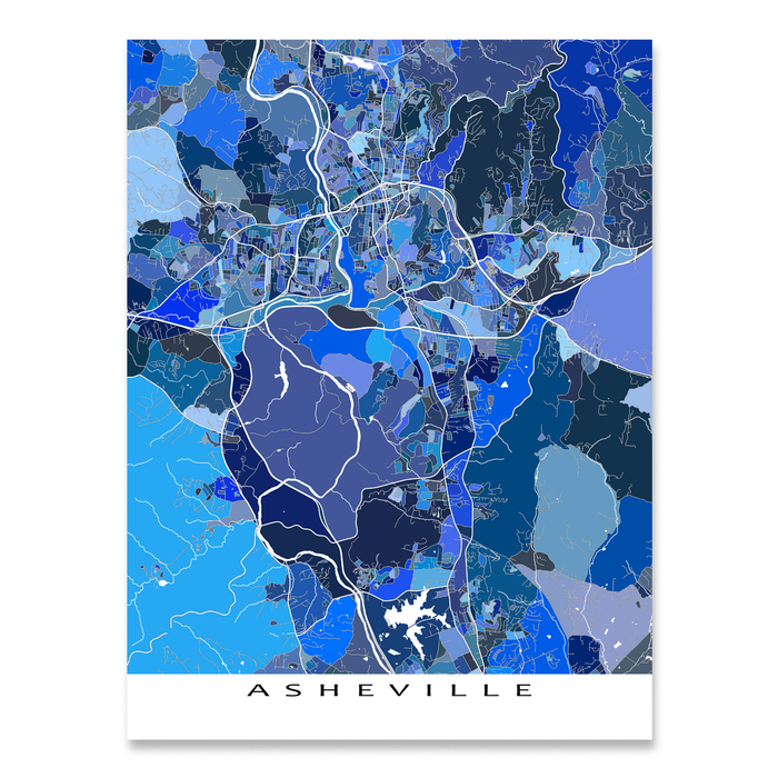 Asheville, North Carolina map art print in blue shapes designed by Maps As Art.