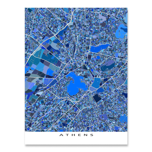 Athens, Greece map art print in blue shapes designed by Maps As Art.