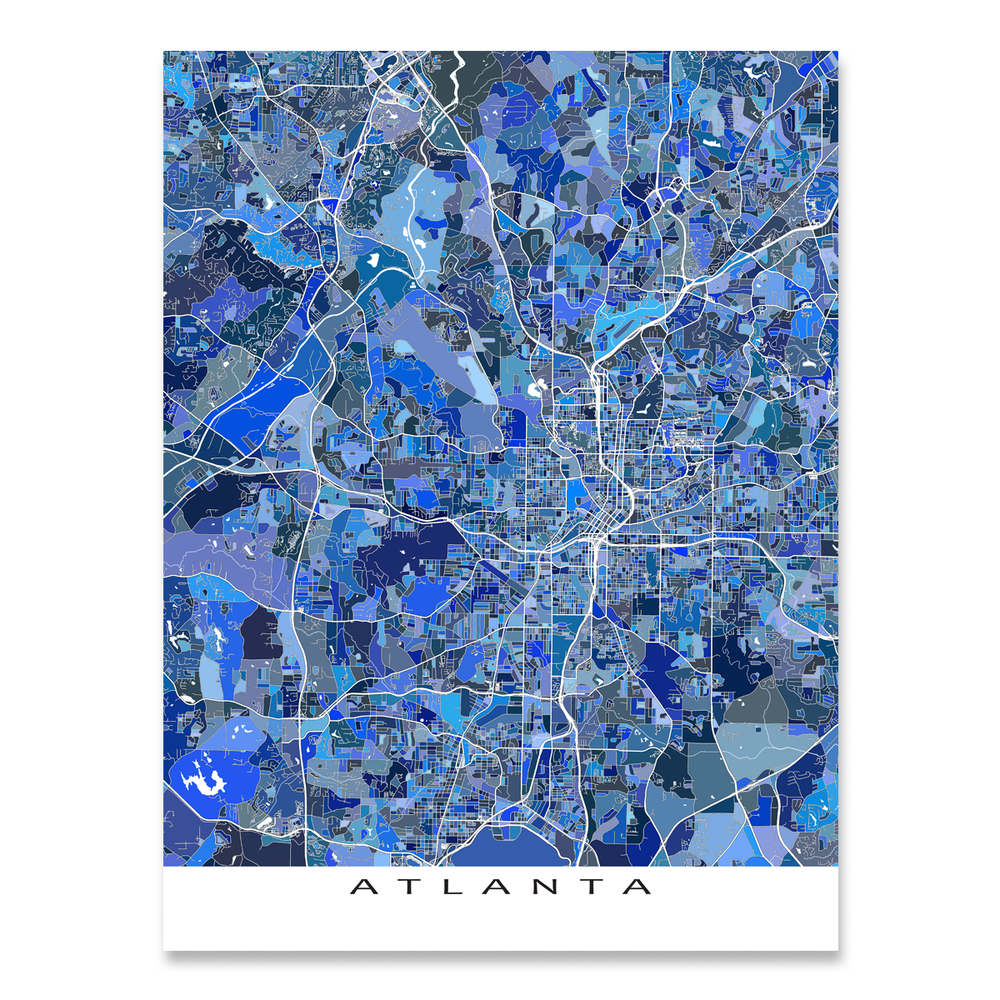 Atlanta, Georgia map art print in blue shapes designed by Maps As Art.