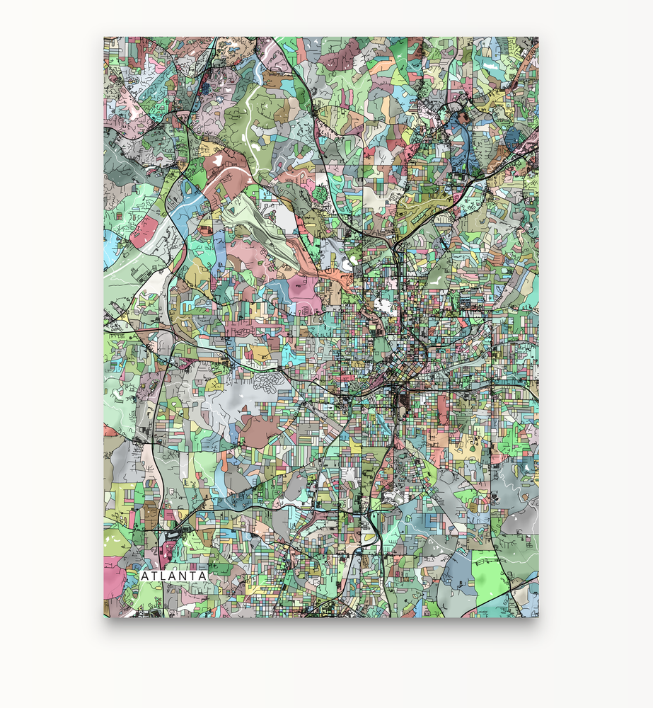 Atlanta, Georgia map art print in colourful shapes designed by Maps As Art.