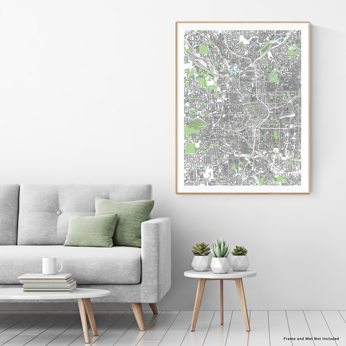 Atlanta, Georgia map art print with city streets and buildings designed by Maps As Art.