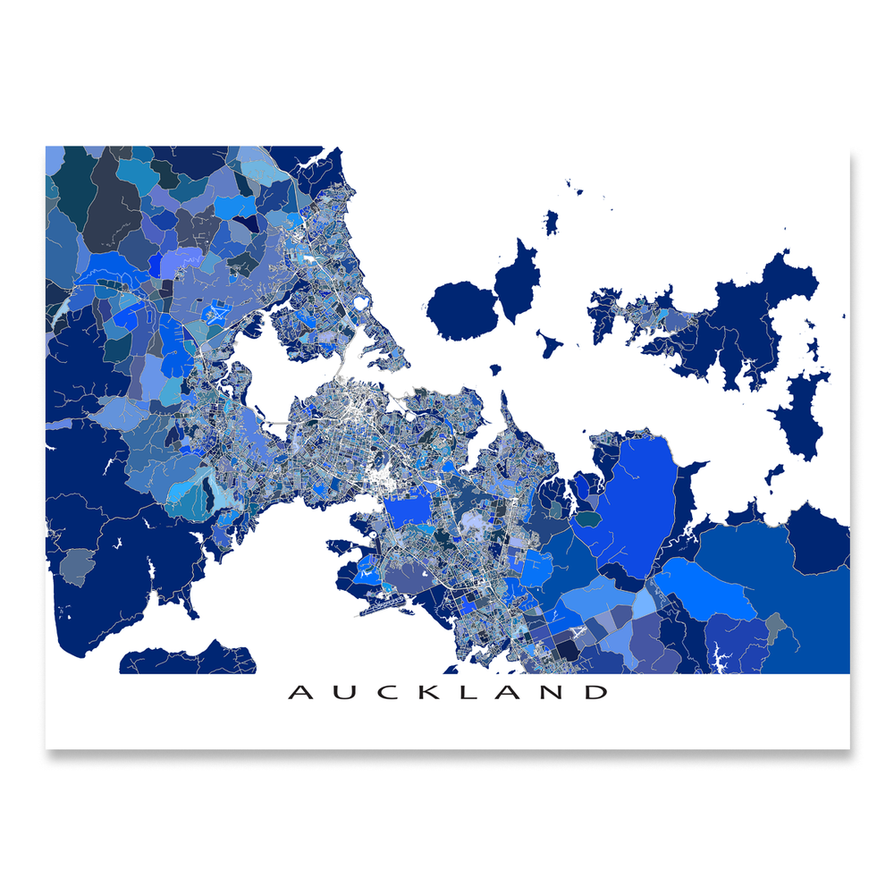 Auckland, New Zealand map art print in blue shapes designed by Maps As Art.