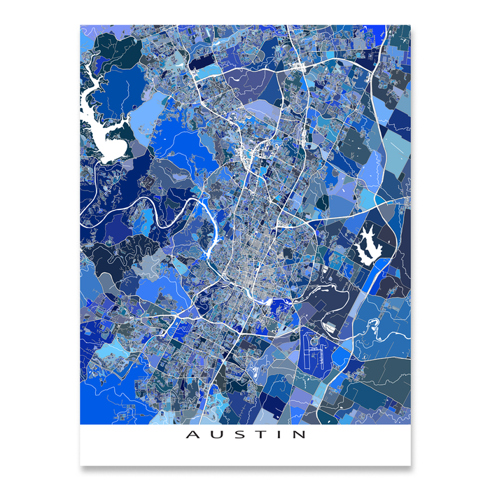 Austin, Texas map art print in blue shapes designed by Maps As Art.