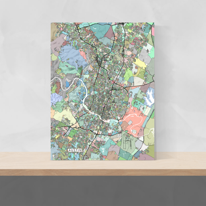 Austin, Texas map art print in colourful shapes designed by Maps As Art.