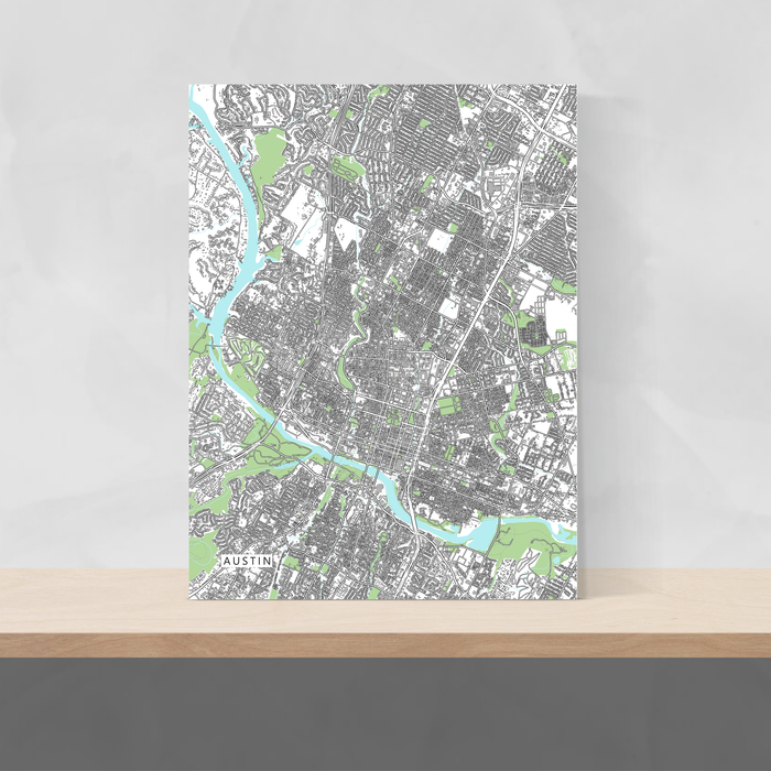 Austin, Texas map art print with city streets and buildings designed by Maps As Art.