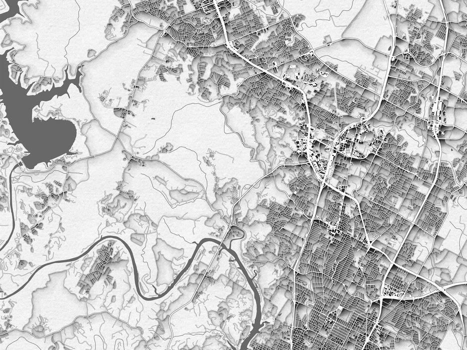 Austin Texas map print in a black and white paper pattern design by Maps As Art.