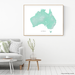 Australia map with natural landscape in aqua tints designed by Maps As Art.