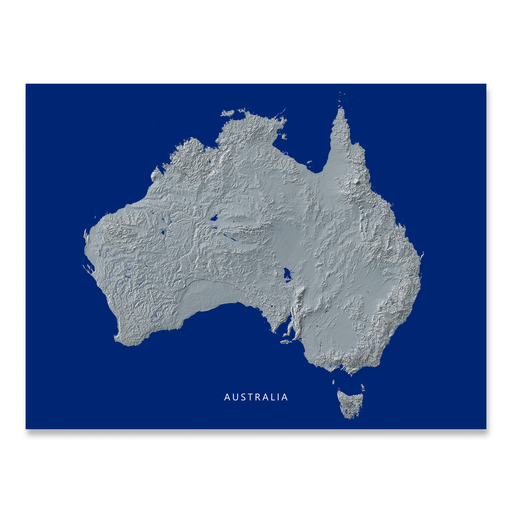 Australia map with natural landscape in greyscale and a navy blue background designed by Maps As Art.