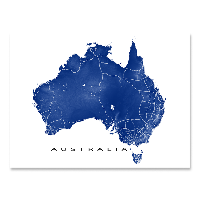 Australia map print with natural landscape and main roads in Navy designed by Maps As Art.