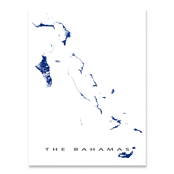 The Bahamas map print in Navy designed by Maps As Art.