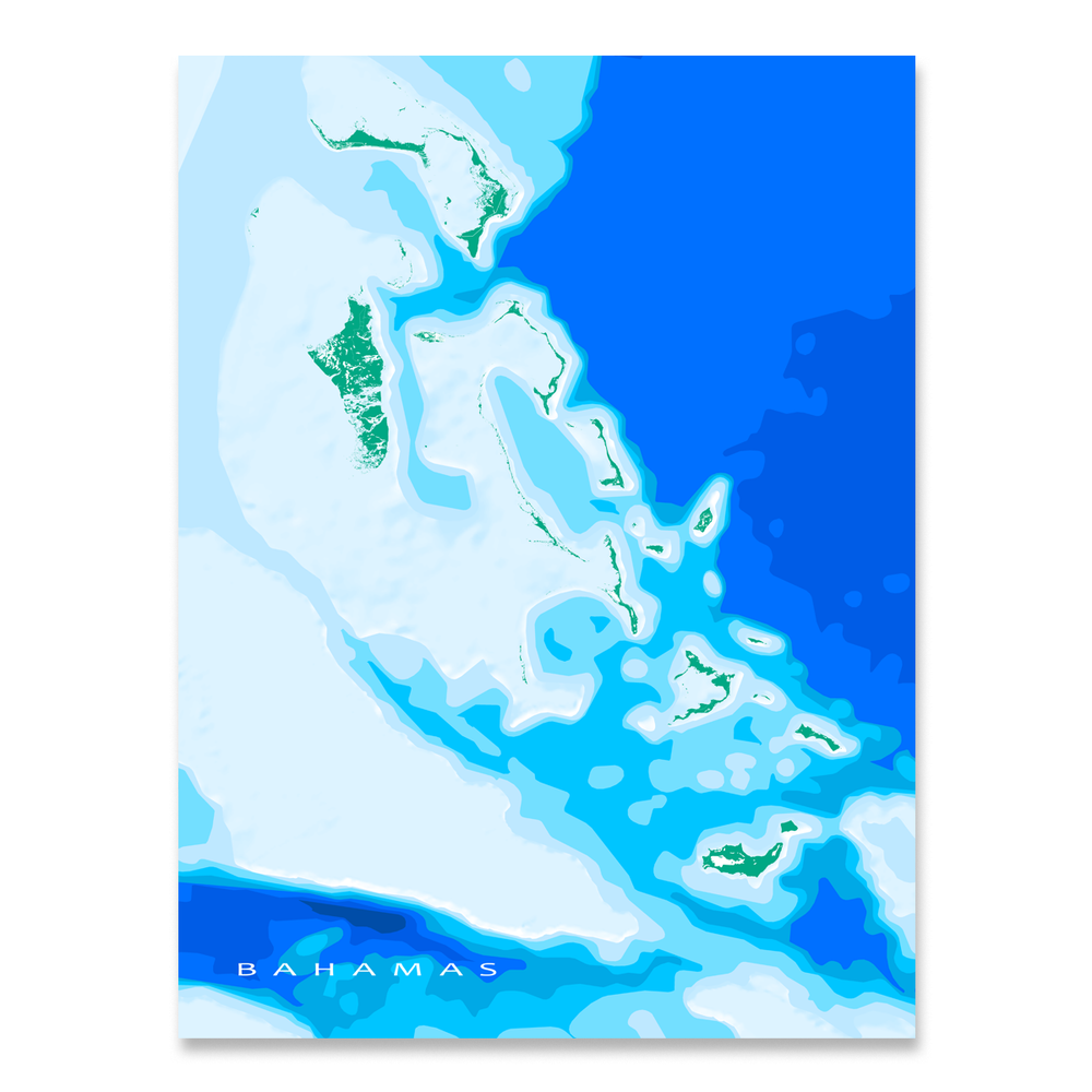 The Bahamas map art print designed by Maps As Art.